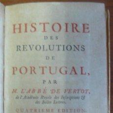 Libros antiguos: HISTOIRE DES REVOLUTIONS DE PORTUGAL. VERTOT, ABBÉ DE. (1734).. Lote 29400265