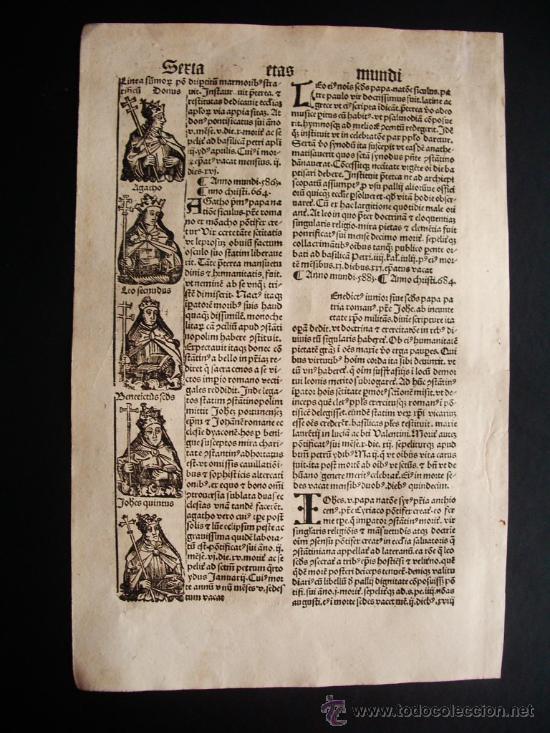 1497- LIBER CRONICARUM. HOJA ORIGINAL DEL SIGLO XV. 5 GRABADOS. (Libros antiguos (hasta 1936), raros y curiosos - Historia Antigua)