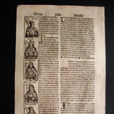 Alte Bücher - 1497- LIBER CRONICARUM. HOJA ORIGINAL DEL SIGLO XV. 5 GRABADOS. - 29993349