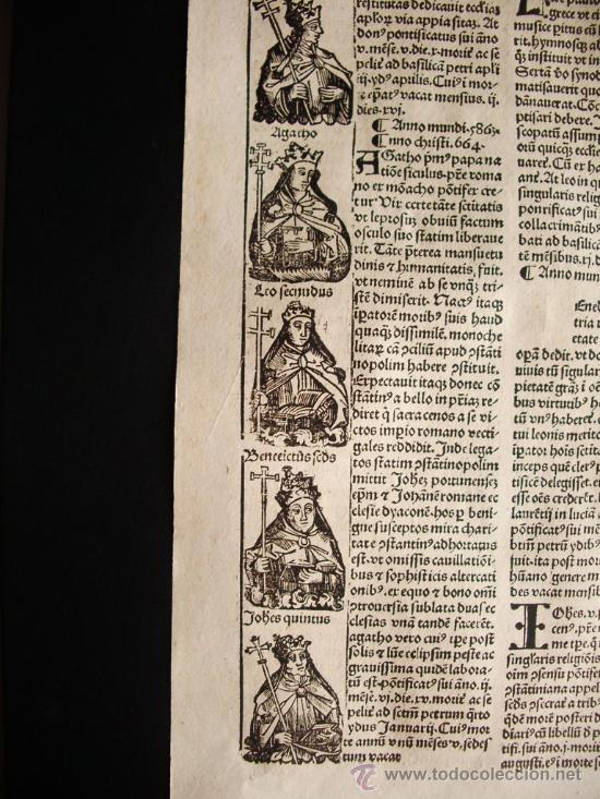 Libros antiguos: 1497- LIBER CRONICARUM. HOJA ORIGINAL DEL SIGLO XV. 5 GRABADOS. - Foto 2 - 29993349
