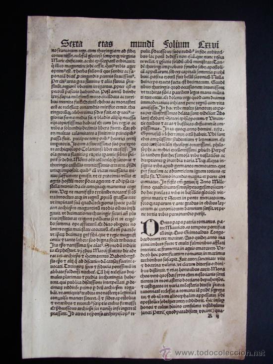 Libros antiguos: 1497- LIBER CRONICARUM. HOJA ORIGINAL DEL SIGLO XV. 5 GRABADOS. - Foto 3 - 29993349