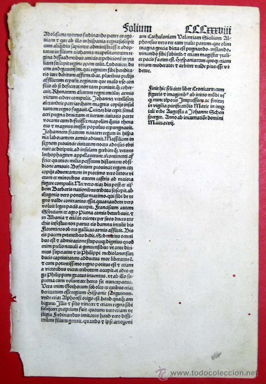 Libros antiguos: 1497- LIBER CRONICARUM. HOJA ORIGINAL DEL SIGLO XV. 5 GRABADOS. - Foto 4 - 29993349