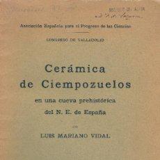 Libros antiguos: L.MARIANO VIDAL. CERÁMICA DE CIEMPOZUELOS EN CUEVA PREHISTORICA DEL N.E. DE ESPAÑA. BARCELONA, 1916. Lote 31038161