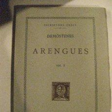 Libros antiguos: DEMOSTENES ARENGUES VOL.II. FUNDACIO BERNAT METGE 1950 TRADUCCIO. . Lote 31167391