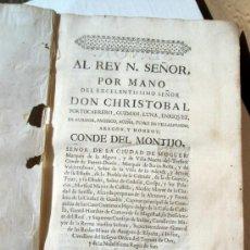 Libros antiguos: LIBRO, AL REY N. SEÑOR DON CHRISTOBAL, CONDE MONTIJO, 1740, ORIGINAL HISTORIA MEXICO,LEER DESCRIPCIO. Lote 31280960