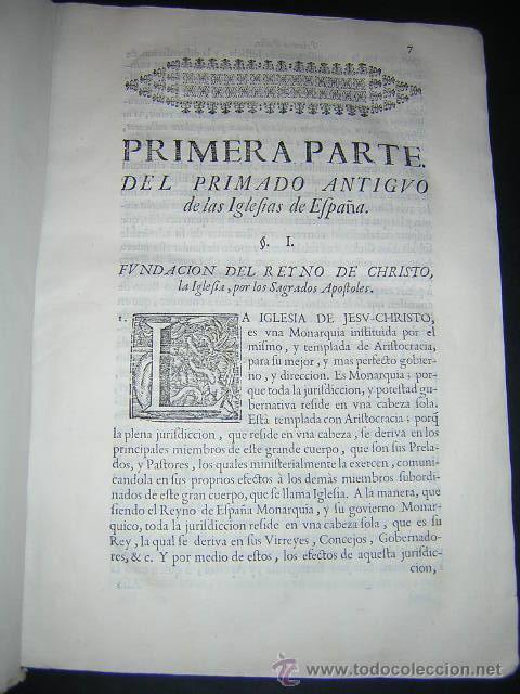 Libros antiguos: 1722 - MEMORIAL A FELIPE V POR LA PRIMACIA DE LAS ESPAÑAS DE LA IGLESIA DE SEVILLA - Foto 4 - 31613976