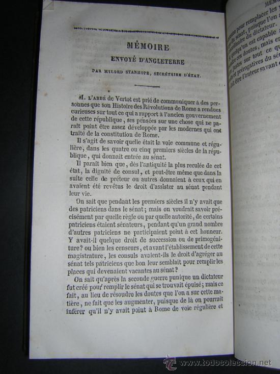 Libros antiguos: 1842 - VERTOT - HISTOIRE DES REVOLUTIONS ARRIVEES DANS LA REPUBLIQUE ROMAINE - Foto 5 - 34009511