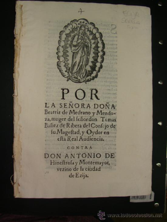 ALEGACIÓN SIGLO XVII. ECIJA, SEVILLA. (Libros antiguos (hasta 1936), raros y curiosos - Historia Antigua)
