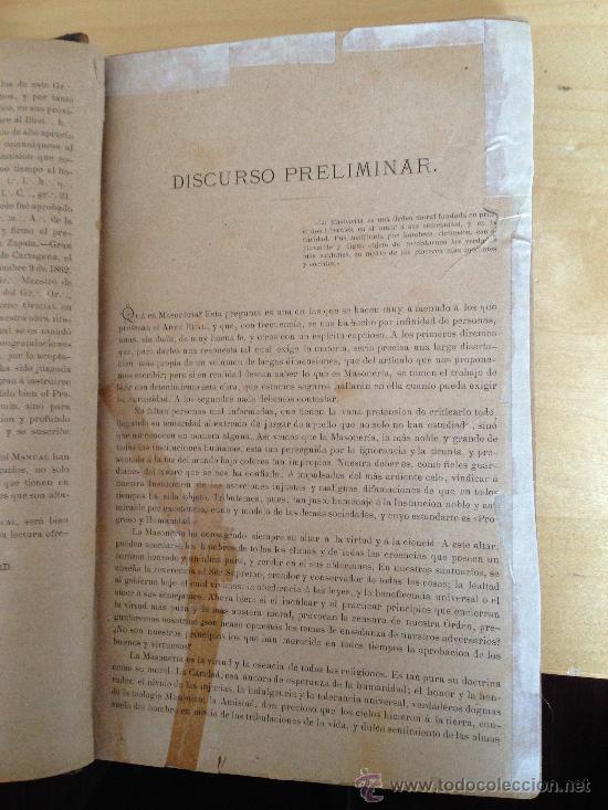 Libros antiguos: 1890?.- MANUAL DE LA MASONERIA. ANDRÉS CASSARD. - Foto 4 - 36378110
