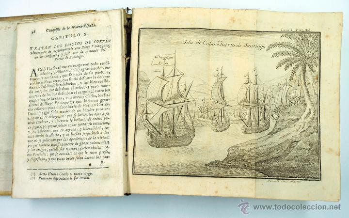 Libros antiguos: Historia de la conquista de Mexico, Antonio de Solis 2 tomos, piferrer ed, 1771. mapas y grabados - Foto 5 - 161752784