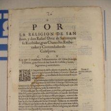Libros antiguos: MITAD SIGLO XVII. ORDEN DE MALTA. ORTIZ DE SOTOMAYOR COMENDADOR Y TESTAMENTARIOS GRAN PRIOR CASTILLA. Lote 39842980