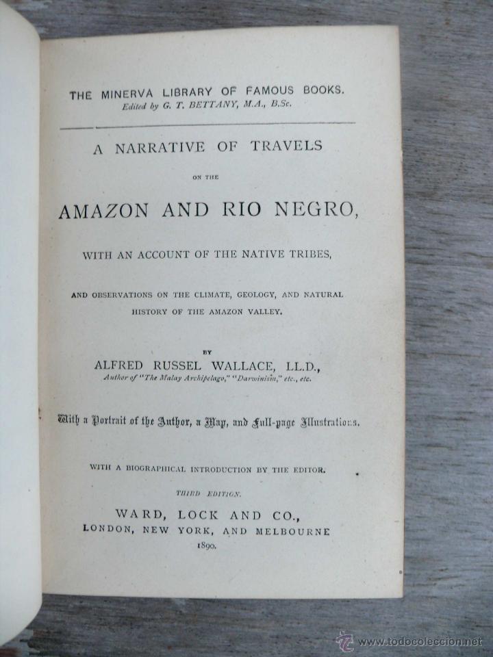 Libros antiguos: libro antiguo muy raro 1890 WALLACE TRAVELS ON THE AMAZON & RIO NEGRO - Foto 3 - 41079842