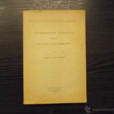 Libros antiguos: INFORMACIONS JUDICIALS SOBRE ELS ADICTES A LA GERMANIA, JOSEP MARIA QUADRADO, 1896. Lote 41740342