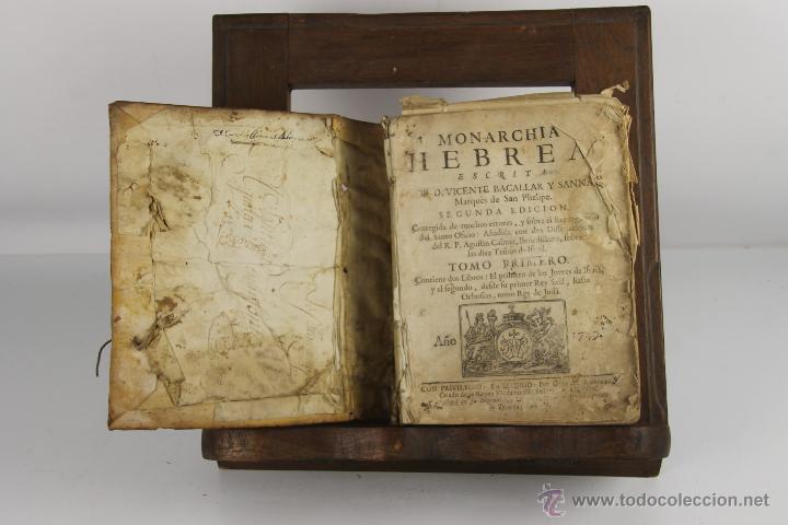 D-272.MONARCHIA HEBREA. VICENTE BACALLAR. IMP. GABRIEL RAMIREZ. 1749. (Libros antiguos (hasta 1936), raros y curiosos - Historia Antigua)