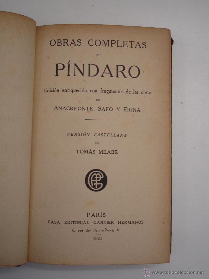 Libros antiguos: Obras completas de Píndaro -PARIS 1921- - Foto 2 - 42449417