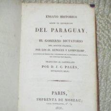 Libros antiguos: ENSAYO HISTÓRICO SOBRE LA REVOLUCIÓN DEL PARAGUAY Y EL GOBIERNO DICTATORIO DEL DOCTOR FRANCIA, 1828. Lote 42804449