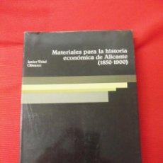 Libros antiguos: MATERIALES PARA LA HISTÓRIA ECONÓMICA DE ALICANTE (1850-1900) JAVIER VIDAL OLIVARES. Lote 46451172