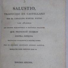 Libros antiguos: SALUSTIO GRABADO ORACIONES CICERON CONTRA CATILINA HISTORIA SALLUSTE 1796. Lote 47102803