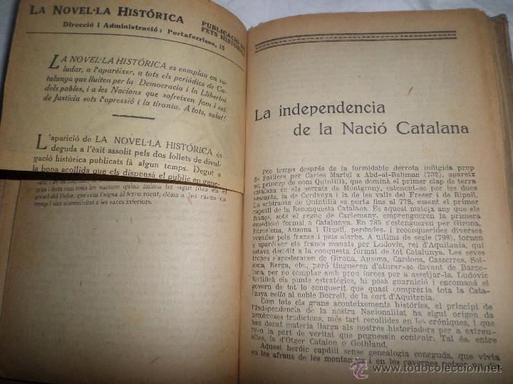 Libros antiguos: La Novel.la Histórica. Historia de Cataluña, encuadernada, en catalan. Desde orígenes a 1917. - Foto 7 - 47401896