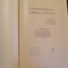 Libros antiguos: MEMORIA HISTÓRICA DE BURGOS Y SU PROVINCIA. 1913.. Lote 47597354