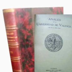 Libros antiguos: ANALES DE LA UNIVERSIDAD DE VALENCIA. AÑO IV, 1923-1924. Lote 49177448