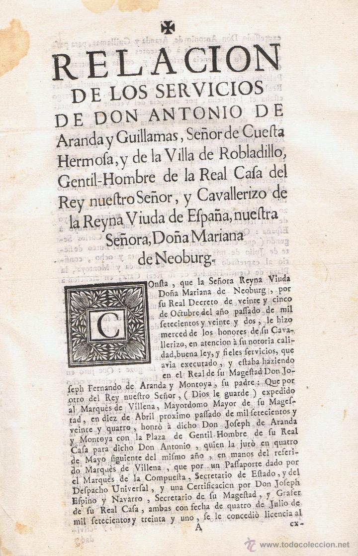 RELACIÓN DE LOS SERVICIOS DE DON ANTONIO DE ARANDA Y GUILLAMAS (Libros antiguos (hasta 1936), raros y curiosos - Historia Antigua)