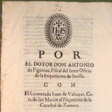Libros antiguos: CIRCA 1650. SEVILLA, ZAMORA. SANTO OFICIO INQUISICIÓN. ALEGACIÓN.. Lote 49982901