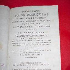 Libros antiguos: DON FELIPE TERCERO REY DE ESPAÑA 1623 AL 1618 CONCERVACION DE LAS MONARQUÍAS. Lote 50065063