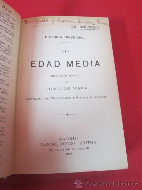 Libros antiguos: HISTORIA UNIVERSAL. CH. SEIGNOBOS. VOLUMEN III. EDAD MEDIA. 1928. - Foto 2 - 50189941
