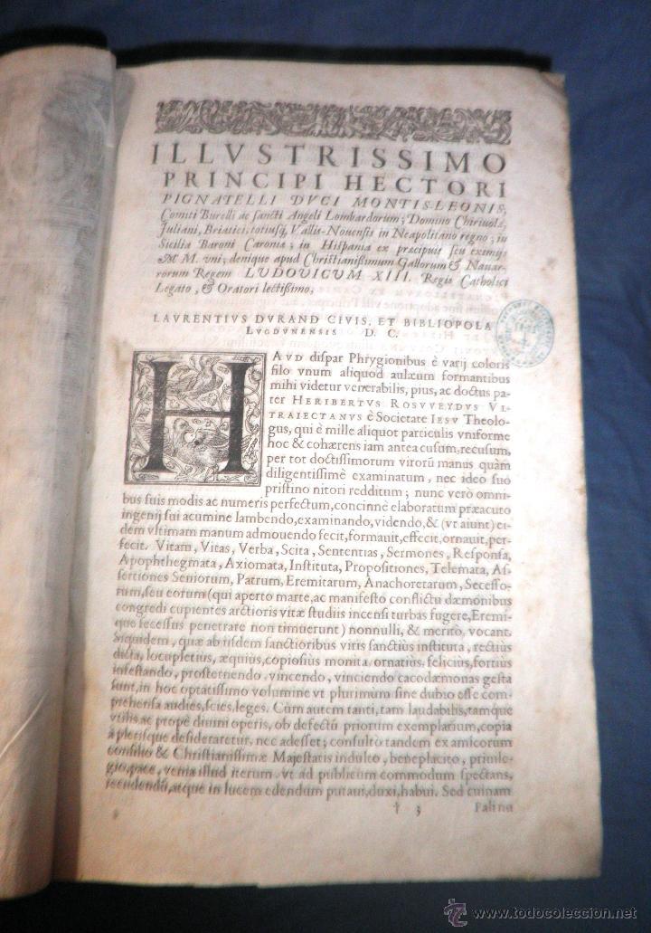 Libros antiguos: VITAE PATRUM - AÑO 1617 - VIDAS DE LOS PATRIARCAS - IN FOLIO - MUY RARO. - Foto 8 - 50631243