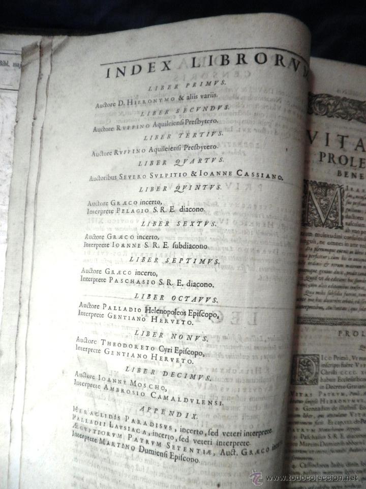 Libros antiguos: VITAE PATRUM - AÑO 1617 - VIDAS DE LOS PATRIARCAS - IN FOLIO - MUY RARO. - Foto 11 - 50631243