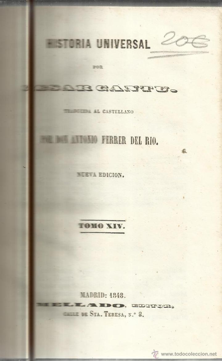 HISTORIA UNIVERSAL. CESAR CANTU. MELLADO EDITOR. MADRID. 1848. TOMO XIV (Libros antiguos (hasta 1936), raros y curiosos - Historia Antigua)