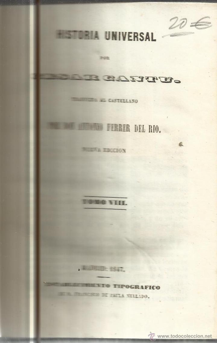HISTORIA UNIVERSAL. CESAR CANTU. MELLADO EDITOR. MADRID. 1847. TOMO VIII (Libros antiguos (hasta 1936), raros y curiosos - Historia Antigua)