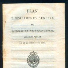 Libros antiguos: NUMULITE L0238 PLAN Y REGLAMENTO GENERAL DE ESCUELAS DE PRIMERAS LETRAS 16 FEBRERO 1825 ESCUELA REAL. Lote 52655917