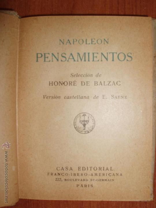 Libros antiguos: NAPOLEON PENSAMIENTOS. SELECCION HONORÉ DE BALZAC. BIBLIOTECA LILIPUT. - Foto 2 - 52969040