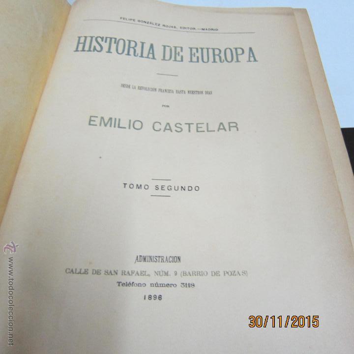 Libros antiguos: CASTELAR. EMILIO, HISTORIA DE EUROPA EN EL SIGLO XVIII, TOMO II, - Foto 3 - 53118353
