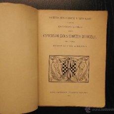 Livros antigos: ESTUDI HISTORICH Y LITERARI SOBRE´L CANÇONER DELS COMTES D´URGELL, GABRIEL LLABRES. Lote 53381739