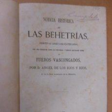 Libros antiguos: NOTICIA HISTÓRICA DE LAS BEHETRÍAS, PRIMITIVAS LIBERTADES CASTELLANAS- RÍOS Y RÍOS ANGEL DE LOS 1876. Lote 53731307