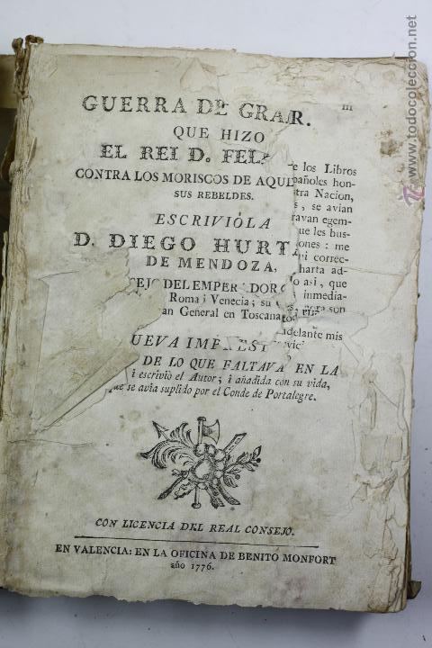 GUERRA DE GRANADA, DIEGO HURTADO, VALENCI, 1776. 15X20 CM. (Libros antiguos (hasta 1936), raros y curiosos - Historia Antigua)