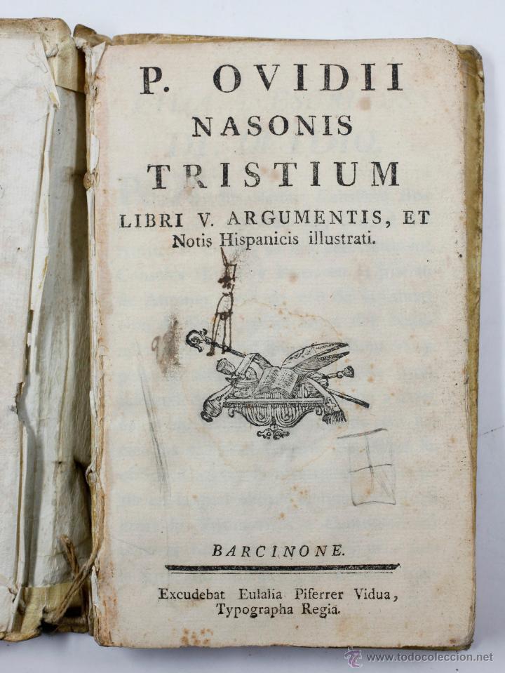P. OVIDII NASONIS TRISTIUM, LIBRI V. BARCINONE, PIFERRER ED. (Libros antiguos (hasta 1936), raros y curiosos - Historia Antigua)