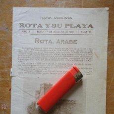 Libros antiguos: INFORMACION GRAFICA FALTA PORTADA - CADIZ VILLA DE ROTA AGOSTO 1921 PLAYAS ANDALUZAS ROTA ARABE. Lote 55024986