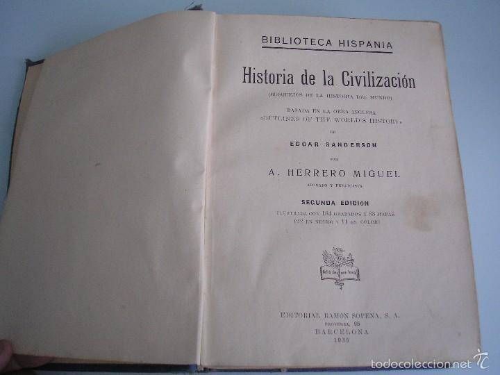Libros antiguos: Historia de la Civilización - A. Herrero Miguel - Editorial Sopena - 1935 - Foto 4 - 55887978