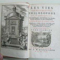 Libros antiguos: LES VIES DES PLUS ILUSTRES PHILOSOPHES... (2 TOMOS),1758. DIOGENE LAËRCE. BELLOS GRABADOS. Lote 57497908