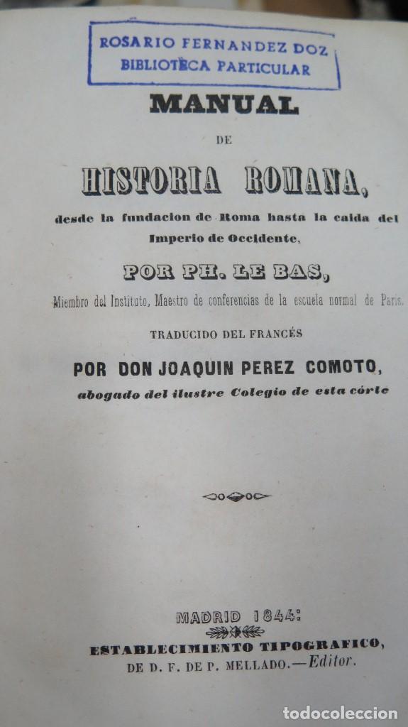Libros antiguos: 1844.- MANUAL DE HISTORIA ROMANA. DESDE SU FUNDACION ROMANA HASTA LA CAIDA DEL IMPERIO DE OCCIDENTE - Foto 3 - 61692828