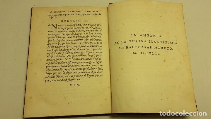 Libros antiguos: RESPUESTA AL MANIFIESTO DEL REYNO DE PORTUGAL. JUAN CARAMUEL LOBKOVVITZ 1642. - Foto 8 - 65774854