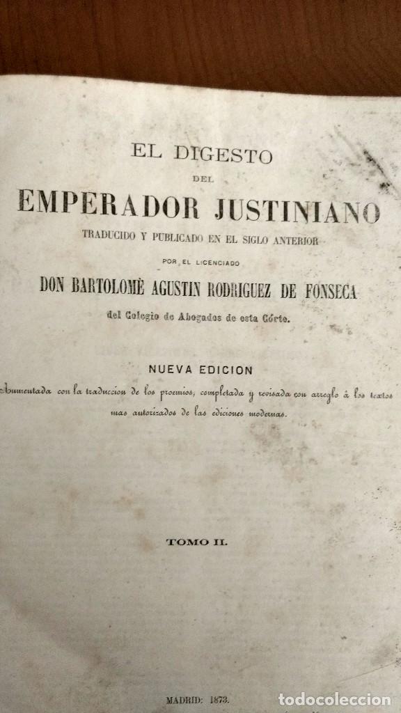 Libros antiguos: EL DIGESTO DEL EMPERADOR JUSTINIANO EN CASTELLANO Y LATÍN. PUBLICADO POR B. A. RODRÍGUEZ FONSECA. - Foto 2 - 68141573