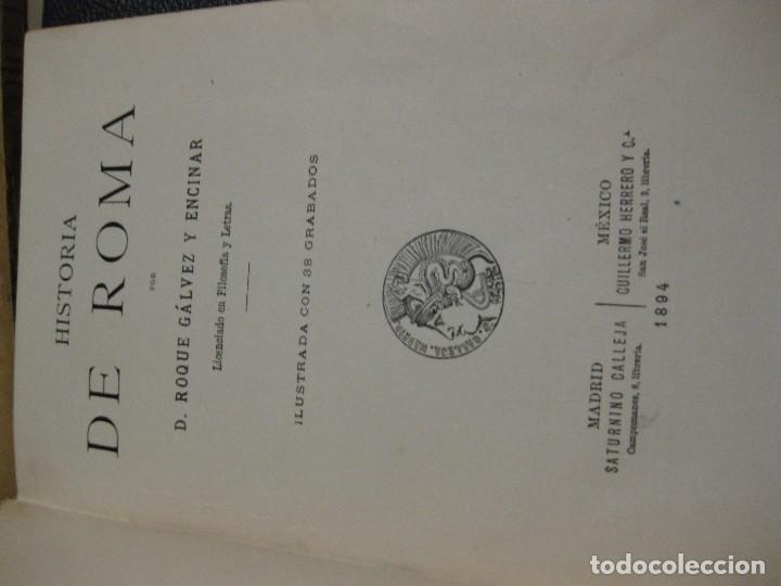 Libros antiguos: historia de roma . Roque Galvez . calleja , timbre comite republicano margalef 1894 . 38 grabados - Foto 4 - 70359529