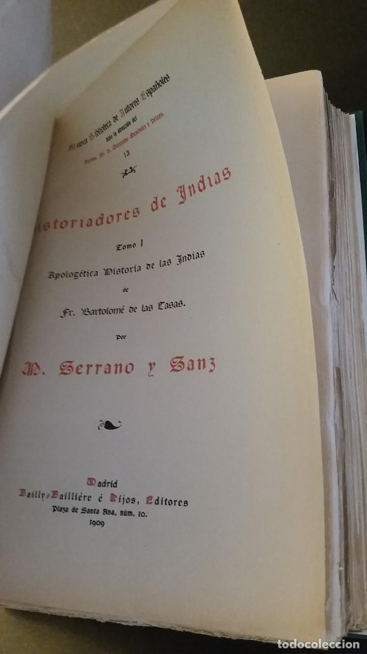 Libros antiguos: 1909 - SERRANO Y SANZ - HISTORIADORES DE INDIAS - 2 TOMOS - BARTOLOMÉ DE LAS CASAS, CIEZA DE LEÓN... - Foto 3 - 73468671