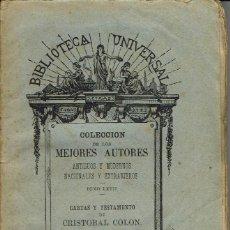 Libros antiguos: CARTAS Y TESTAMENTO DE CRISTÓBAL COLÓN. (1.1). Lote 78151769