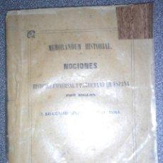 Libros antiguos: MEMORÁNDUM HISTORIAL. NOCIONES DE HISTORIA UNIVERSAL Y PARTICULAR DE ESPAÑA POR SIGLOS. MADRID. 1858. Lote 87069212